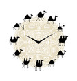 clock with camels silhouette design vector image vector image