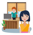 coworkers inside office cartoons vector image vector image