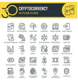 cryptocurrency outline icons vector image vector image