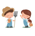 cute flat style young couple harvest persimmon vector image vector image