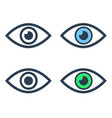 eye icons set on white background vector image