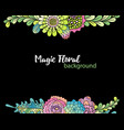 floral background hand drawn succulent bouquets vector image vector image
