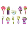 flowers bouquet set design elements for greeting vector image vector image