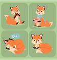 fox character doing different foxy activities vector image vector image