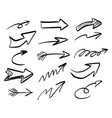 freehand arrow set sketch vector image vector image