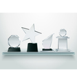 Glass Trophies On Shelf Realistic Image vector image vector image