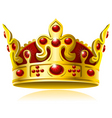gold crown with red gems vector image vector image