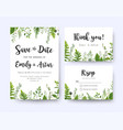 green wedding invite menu rsvp thank you card set vector image vector image