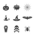 halloween black icons isolated on white vector image