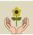 hands care environment flower nature vector image vector image