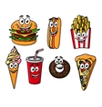 Happy colorful takeaway cartoon food vector image