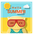hello summer background with cat vector image vector image