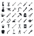 home gardening tools icon set simple style vector image