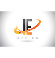 ie i e letter logo with fire flames design and vector image vector image