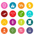 knight medieval icons many colors set vector image vector image