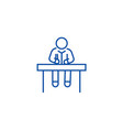 Man sitting at office desk line icon concept man
