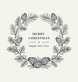 merry christmas card winter wreath pine tree vector image
