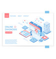 online diagnosis isometric landing page vector image vector image