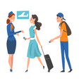 passengers in queue waiting check at airport vector image vector image