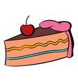 piece cake icon cartoon vector image