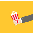 Popcorn Businessman hand Cinema icon in flat vector image vector image