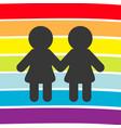 rainbow flag backdrop lgbt gay symbol two woman vector image vector image