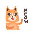 red cat meowing cute cartoon pet animal making vector image