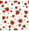 red flower seamless abstract pattern on white vector image vector image