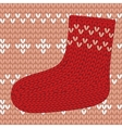 Red knitted sock on seamless pattern vector image vector image