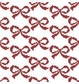 seamless cross stitches bow pattern on white vector image vector image