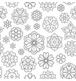 seamless pattern with outline flowers for coloring vector image vector image