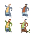 Set of homeless people vector image