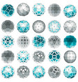 set of low poly spherical objects with connected vector image vector image