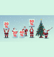 set of santa claus with vector image vector image