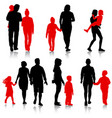 set silhouette of happy family on a white vector image