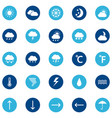 set weather icons on color background vector image