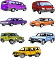 seven passenger cars vector image vector image
