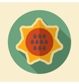 Sunflower retro flat icon with long shadow vector image vector image