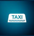 taxi car roof sign icon on blue background vector image