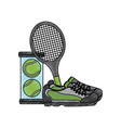 tennis racket sneakers and balls equipment vector image