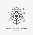 think outside box flat line icon creative vector image