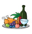 tray with food vector image vector image