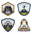 vintage colored video game emblems set vector image vector image