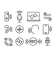 voice recognition icons vector image vector image