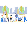 volunteers for eco environment clean from waste vector image vector image