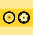 wheel icon set isolated on yellow background for vector image vector image