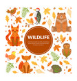 wildlife banner template autumn forest seamless vector image