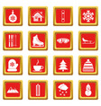 winter icons set red vector image