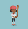 young african-american baseball player with a bat vector image vector image