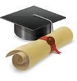 Graduation cap with diploma Isolated on white vector image